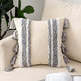 Woaboy 1 Piece Bohemian Tasseled Pillow Cover Boho Tuft Square Decorative Soft Throw Pillowcase with Invisible Zipper for Bed Sofa Couch Outdoor Living Room 16 X 16inch 40 X 40cm Stripe Grey