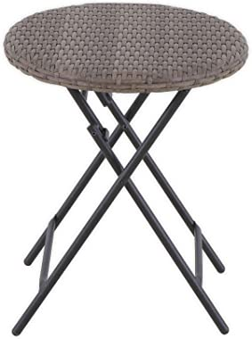 Destination Summer Barrington Wicker Round Folding Patio Accent Table in Natural Brown
