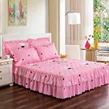 Quilted Mattress Cover Bed Skirt,Thicken Bedspread Bed Sheet Mattress Protector Single Double Can Be Used,Skirt Design