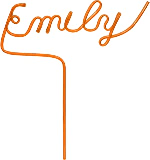 Custom Namesake Straw (Orange) Up to 8 Letters - Any Word - Personalized Gift (Reusable & Recyclable) - Name Straws