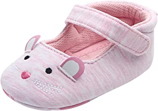1172d4590417e Chaussures Premier Pas Bébé Fille Antidérapant avec Semelles Souples  Chaussons en Coton Mignon Princesse pour Enfant