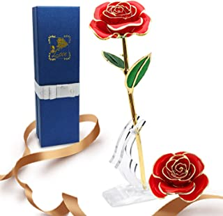 Niser 24k Gold Eternity Rose for Anniversary Birthday Thanksgiving Day,Gifts for Her Mom Wife Girlfriend, Free Moon Stand, Red