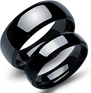 2Pcs Stainless Steel Unique Pure Black Matching Couple/Relationship Rings for Him and Her Sets