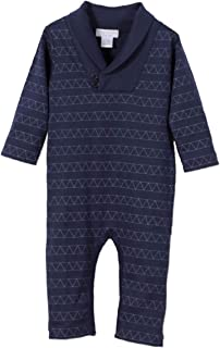 Feather Baby Boys Clothes Pima Cotton Long Sleeve Shawl Neck Jumpsuit One Piece Romper