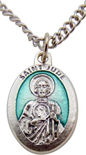 Westman Works St Jude Medal Green Enamel on Metal Saint Pendant 3/4 Inch with Chain