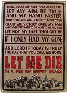 TG,LLC Pile of Brass Prayer Pro 2nd Amendment Gun Rights Embossed Tin Sign