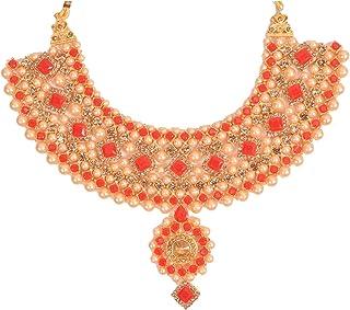 Glorious Kundan Red Wedding Jewellery Necklace Set With Earring, Maangtikka For Women