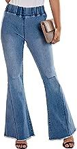 Aleumdr Women Denim Pants Ankle Length Wash Vintage Wide Leg Flare Jeans Plus Size Tall (S-2XL)