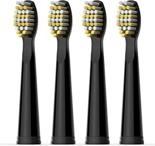 Fairywill Electric Toothbrush Replaceable Head x 4 with Hard Bristle Solely Compatible for FW507,FW917,FW508,FW659,FW515 Series Black Toothbrush(FW06)