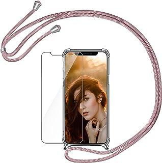 AROYI Funda con Cuerda Compatible con iPhone X/XS y Protector Pantalla, Carcasa Transparente TPU Silicona Case con Colgant...