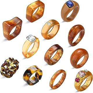 12Pcs Y2K Rings for Women Acrylic Resin Rings Set Jewelry Vintage Plastic Rings Purple Retro Chunky Rings Rhinestone Party...