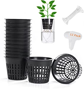 12 Pack 3 inch Net Cup Pots with 15 feet Hydroponic Self Watering Wick & 15 Plant Labels Aquaponics Mason Jar Bucket Insert Orchid kratky Vegetable Garden Gardening Growing Netted Baskets Slotted Mesh