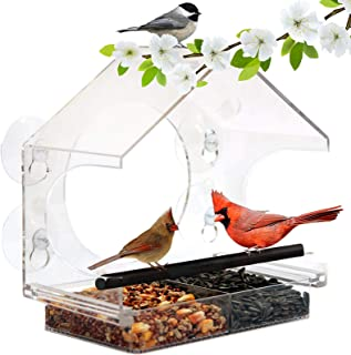 Clear Acrylic Window Bird Feeder with 4 Suction Cups & Standing Pole High Feed Capacity Outside Birdhouse for Close Up Vie...