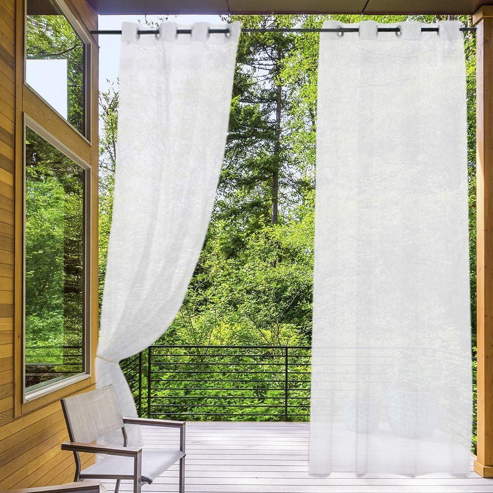 Schlaufen/ösen f/ür den Au/ßenbereich 2 gratis Seile, Breite 137 x L/änge 213 cm, 2 St/ück Terrasse//Pavillon Pergola Zceconce Look Halbtransparente Outdoor-Vorh/änge filtert das Blenden.