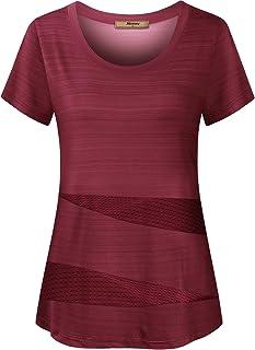زنان پیراهن آستین کوتاه و آستین کوتاه Miusey تاپ های تمیز ورزشی فعال و آزاد