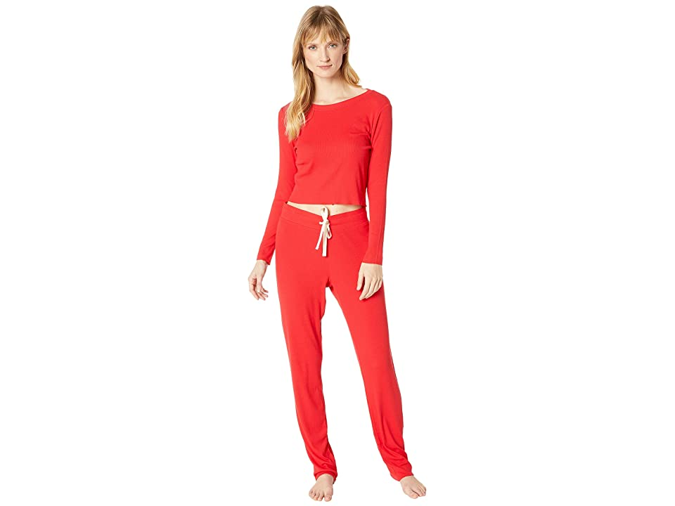 Skarlett Blue Daydream Two-Piece Set Cropped Shirt Lounge Pants (Santa Red) Women