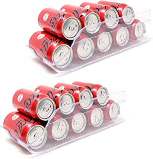 QILZO Ensemble de 2 boîtes de Rangement pour réfrigérateur et congélateur Organisateur de canettes pour réfrigérateur 35,5...