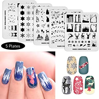 KADS 5Pcs/Set Nail Art Stamping Plate Nail Art Design Template Christmas Star Snowman Elk Pattern