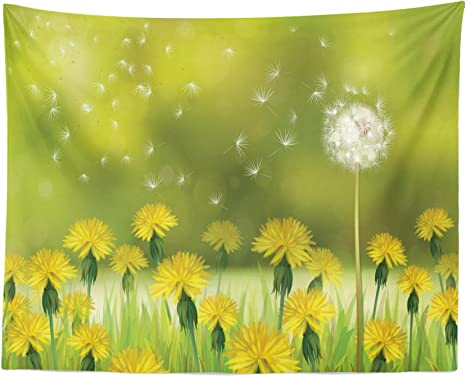 Amazon Com Lunarable Dandelion Tapestry Field Of Dandelions In Spring Time With Bokeh Style Blurred Background Fabric Wall Hanging Decor For Bedroom Living Room Dorm 28 X 23 Yellow White Home Kitchen