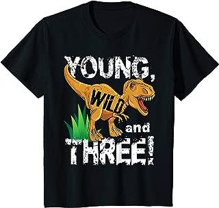 Kids Young Wild and Three (3) Dinosaur T-Rex Birthday Shirt Boys