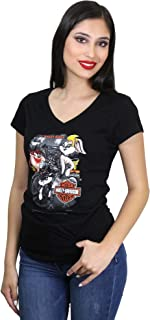 Womens WB Rally Girls V-Neck Black Short Sleeve T-Shirt