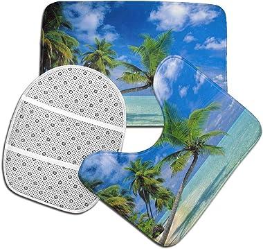 Dpcm - Juego de alfombrillas de baño (3 piezas, antideslizante, lavable, en forma de U), diseño de Maldivas