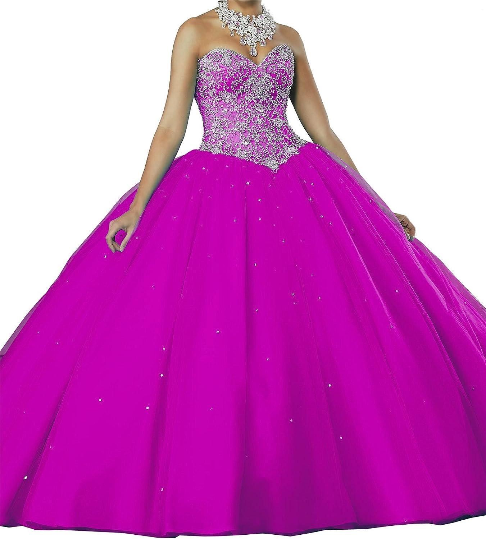 MFandy Sweetheart Girls Beaded Ball Gowns Floor Length Women Quinceanera Dress