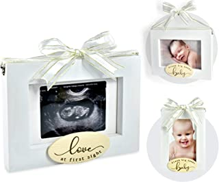 """I'm Solid Wood Sonogram Pregnancy Baby Ultrasound 2 Sided Photo Frame, Great for Expecting New Parents Baby Shower Gift Keepsake & Nursery Décor """"Love at First Sight/Dream Big Sweet Baby"""