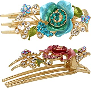 Fashion & Lifestyle Set of 2 Metal Alloy Alligator Sectioning Clips for Women and Girls - Pretty Strong Clamp Hair Pins Non-Slip Hair Grips Accessories for Thick Hair, Blue and Pink