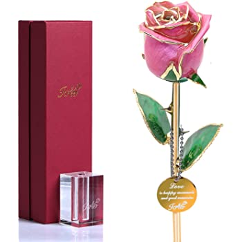24K Gold Dipped Rose Glass Rose Unique Gifts for Women/Wife/Mother,Christmas Birthday Mother's Day Valentine's Day Anniversary Merry Xmas New Year