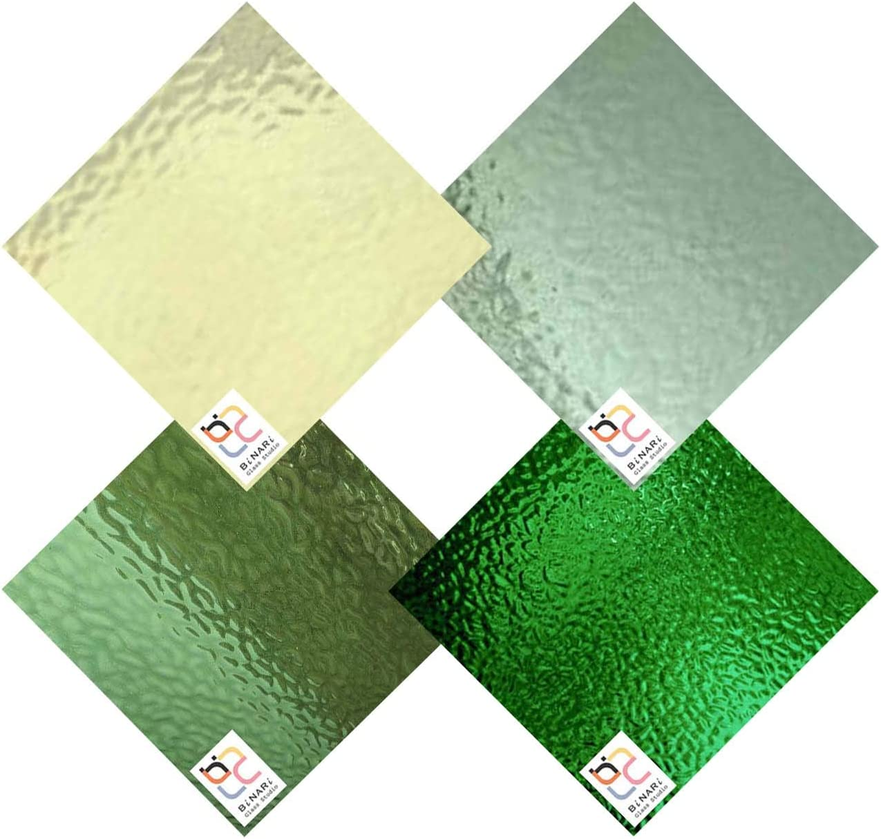 Wissmach We OFFer at cheap prices 4 Sheet Mixed Color Glass Pack Green Stained Variety Ranking TOP20