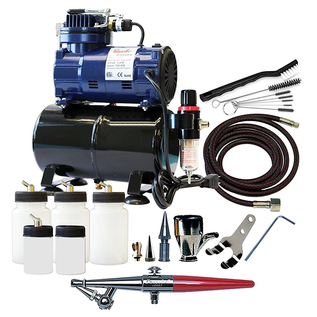 Paasche Airbrush H-300R Single Action Airbrush Set and Compressor with Tank