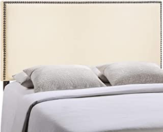 Modway Region Linen Fabric Upholstered King Headboard in Ivory with Nailhead Trim