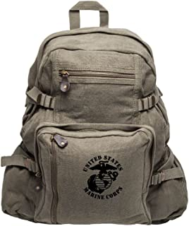 United States Marine Corps Army Sport Heavyweight Canvas Backpack Bag in Olive & Black, Large