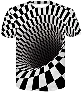 Domple Men Short Sleeve Round Neck Hipster Big and Tall 3D Printed Slim Fit T Shirts Tee