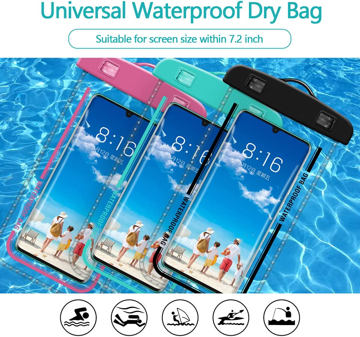 Universal Waterproof Pouch Cellphone Dry Bag 100FT Waterproof Case for iPhone 11 Pro Max Xs Max XR X 8 7 6S Plus SE, Galaxy S210/ S9+,MI8/9/10/10Pro,Huawei nova7 Pro/P40 Pro up to 7.2