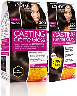 L'Oreal Paris Casting Crème Gloss Hair Colour, 300 Darkest Brown, (159.5ml+45ml) (Pack Of 2), Brown, 204 g (Pack of 2)