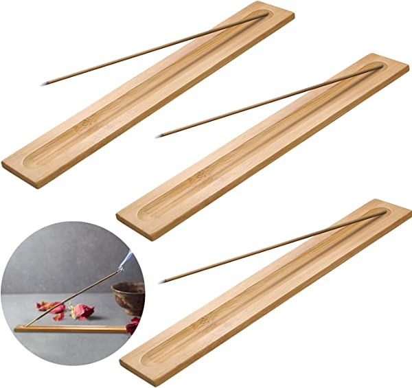 TKMOS 6 Pieces Nature Bamboo Wood Incense Holder Incense Burner Ash Catcher 9 Inches Long