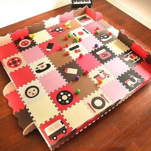 LFY Kinder Puzzle Spielmatte mit Zaun, Multi-Farbe-Kombinationsschaum Krabbelmatten (Größe   36 Piece+24 Fence)