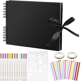 aovowog Album Photo Traditionnel avec 12 stylos marqueurs métalliques Scrapbooking avec 80 Pages 12 * 9in Reliure Double S...