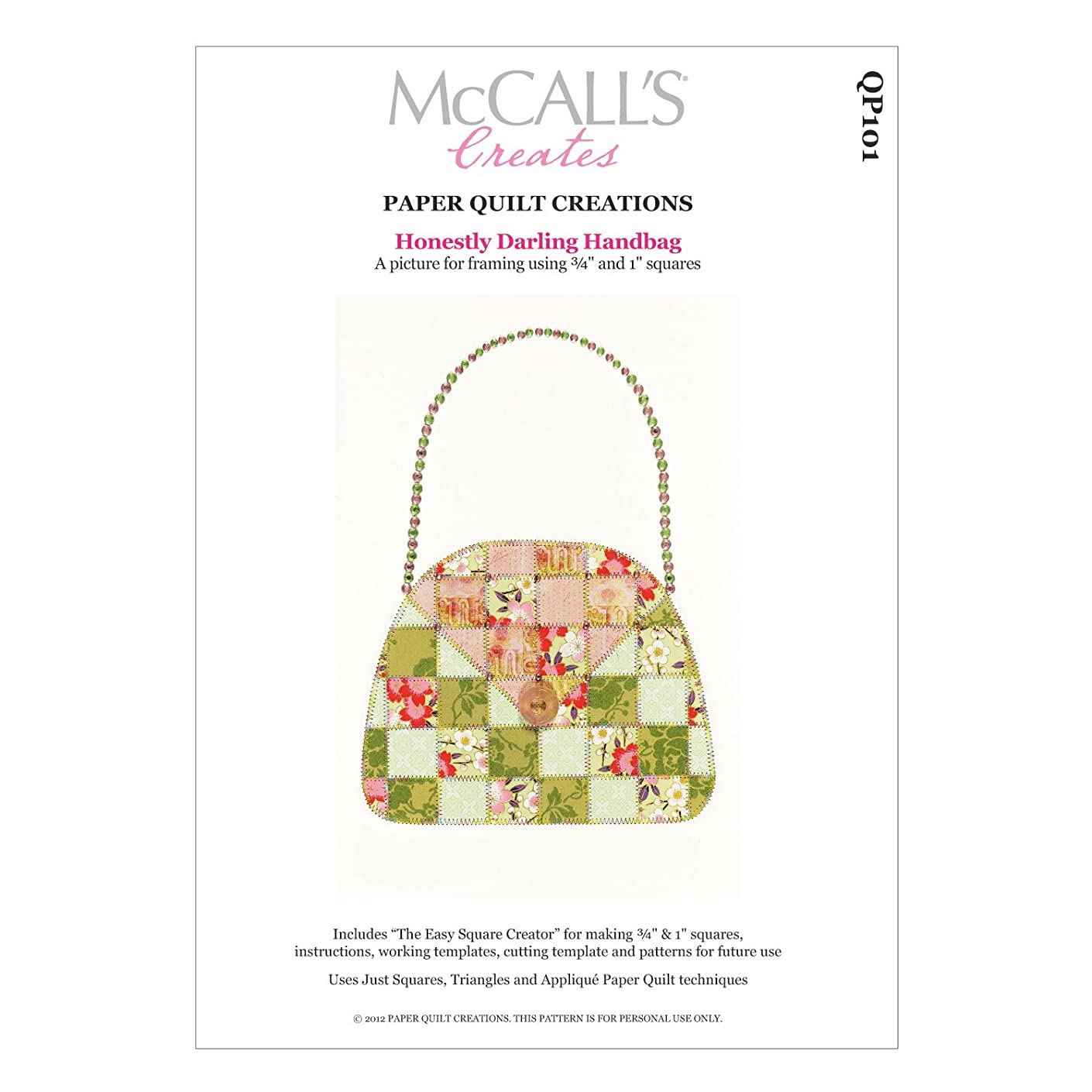 McCall's Creates W10620 Paper Quilt Creations Craft Pattern, Honestly Darling Handbag Quilt Picture