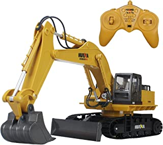 HuiNa 2.4Ghz Alloy 11 Channel Crawler Full-Function Excavator, Radio Remote Control Construction Truck R/C RTR (Excavator)