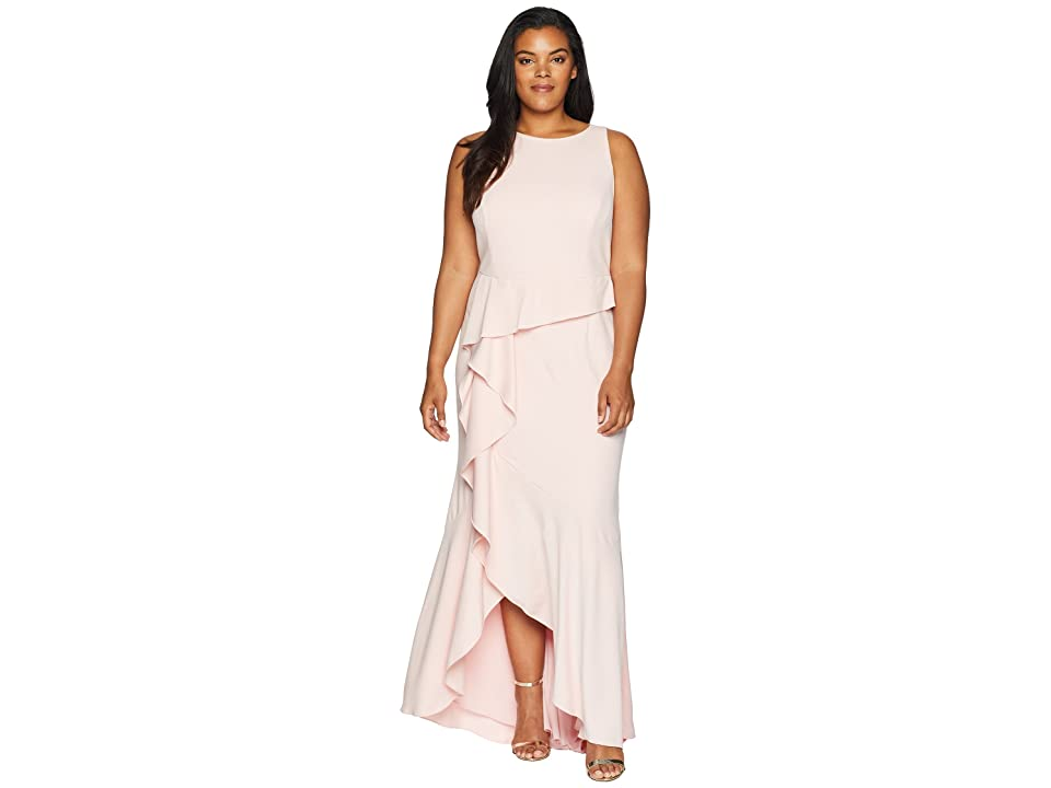 Adrianna Papell Plus Size Sleeveless Long Knit Crepe Gown with Cascade Skirt Detail (Pale Shell) Women