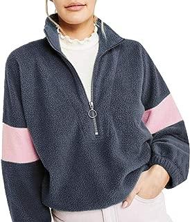 Womens Fashion Stripe Sleeve Oversize Fluffy Fleece Pullover Sweatshirt Outwears
