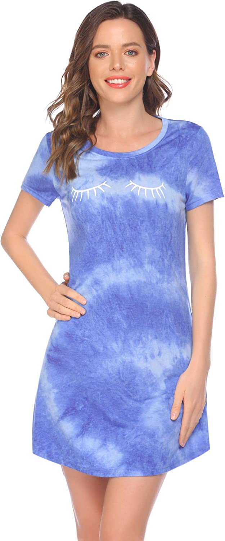 Evanhome Womens Nightgown Sleeping Short Sleeve Sleep Dress Casual Sleepwear Comfy Home Sleep Dress