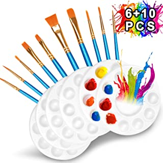 10 Pcs Paint Brushes Set with 6 Pcs Paint Palettes Trays Plastic for Kids Acrylic DIY Craft Art Painting Round Pallets(16 Pack)