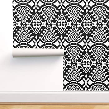 Spoonflower Peel And Stick Removable Wallpaper Mod Cloth Geometric Ethnic Moroccan Block Tribal Print Self Adhesive Wallpaper 12in X 24in Test Swatch Amazon Com