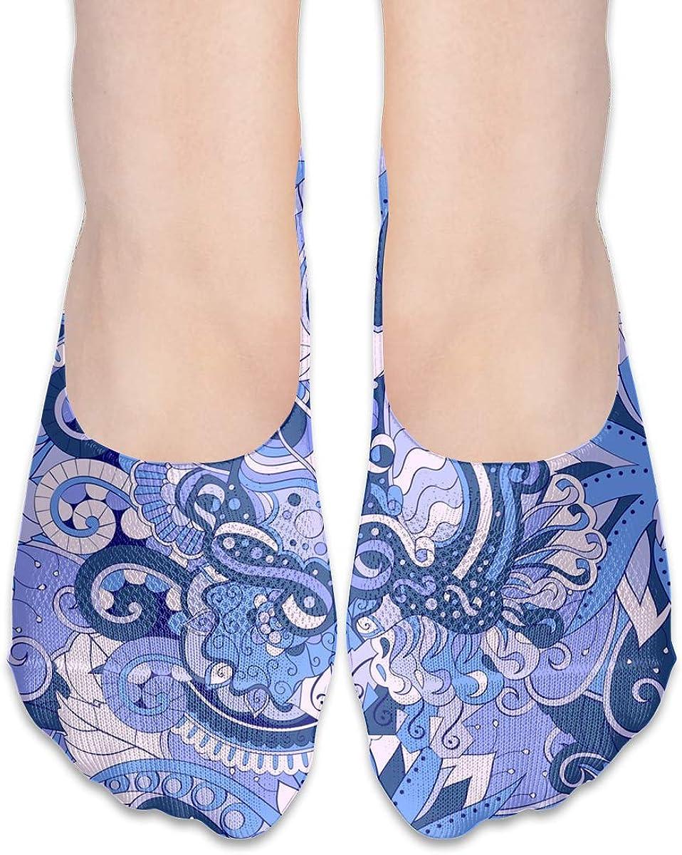 No Show Socks Women Men For Ethnic Colorful Doodle Blue Flats Cotton Ultra Low Cut Liner Socks Non Slip