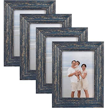 4 Pack 5x7 Picture Frame Rustic Style Frame Wood Pattern Picture Frames for Wall Mounting or Table Top, Mounting Hardware Included