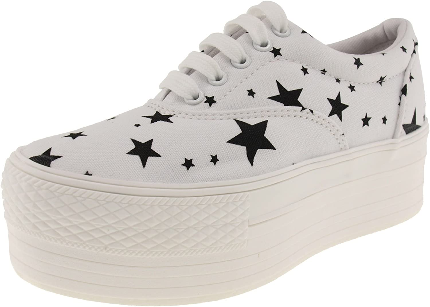 Maxstar Star Patterned Oxford Boat Canvas Platform Sneakers shoes